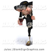 Illustration of a 3d Korrigan Dwarf Holding a Beer and a Blank Sign by Julos