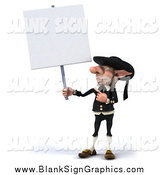 Illustration of a 3d Korrigan Dwarf Holding and Pointing to a Blank Sign by Julos