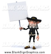 Illustration of a 3d Korrigan Dwarf Holding up a Blank Sign by Julos