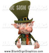 Illustration of a 3d Leprechaun Holding a Thumb up over a Sign Board by Julos