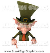 Illustration of a 3d Leprechaun Pointing at a Sign by Julos