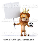 Illustration of a 3d Lion King Standing Upright, Holding a Soccer Ball and a Blank Sign by Julos