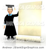 Illustration of a 3d Male Graduate with Giant Diploma Blank Sign by