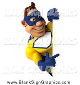 Illustration of a 3d Male Super Hero in a Blue and Yellow Suit, Pointing Around a Sign by Julos