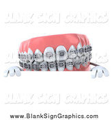 Illustration of a 3d Metal Mouth Braces Teeth Character over a Sign by Julos