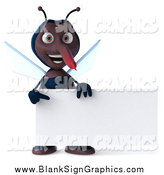 Illustration of a 3d Mosquito Holding and Pointing to a Blank Sign by Julos