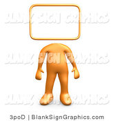 Illustration of a 3d Orange Person with a Blank Sign Head by 3poD