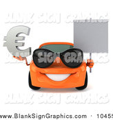Illustration of a 3d Orange Porsche Car Wearing Sunglasses, Holding a Euro Symbol and Sign by Julos