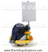 Illustration of a 3d Penguin Wearing an Inner Tube and Holding a Blank Sign by Julos