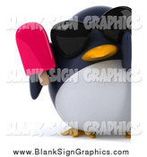 Illustration of a 3d Penguin Wearing Shades and Holding a Popsicle by a Sign by Julos