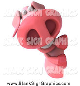 Illustration of a 3d Pig Looking Around a Sign by Julos