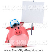 Illustration of a 3d Pig Wearing a Baseball Cap and Holding a Sign by Julos