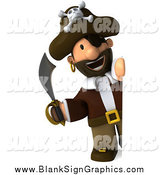 Illustration of a 3d Pirate Holding a Sword and Looking Around a Sign by Julos