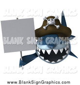 Illustration of a 3d Pirate Shark Holding a Blank Sign by Julos