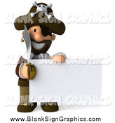 Illustration of a 3d Pirate with a Sword, Holding a Blank Sign by Julos