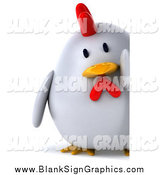 Illustration of a 3d Plump White Chicken Looking Around a Sign by Julos