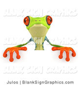 Illustration of a 3d Poison Dart Frog over a Blank Sign by Julos