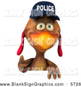 Illustration of a 3d Police Chicken Giving a Thumb up over a Sign by Julos