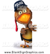 Illustration of a 3d Police Chicken Looking Around a Sign by Julos