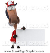 Illustration of a 3d Polo Horse Holding a Blank Sign by Julos