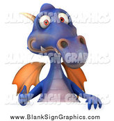Illustration of a 3d Purple Dragon Giving a Thumb up over a Sign by Julos