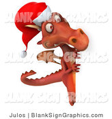 Illustration of a 3d Red Christmas Dragon Holding a Blank Sign by Julos