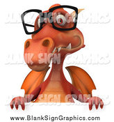Illustration of a 3d Red Dragon Wearing Glasses over a Sign by Julos