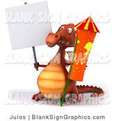 Illustration of a 3d Red Dragon with a Blank Sign and a Rocket by Julos