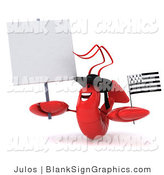 Illustration of a 3d Red Lobster Waving a Breton Flag and Holding a Blank Sign by Julos