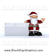 Illustration of a 3d Santa by a Rectangular Sign by KJ Pargeter