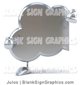 Illustration of a 3d Silver Cloud Character with a Blank Sign by Julos