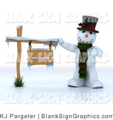 Illustration of a 3d Snowman Presenting a Blank Wooden Sign by KJ Pargeter