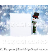 Illustration of a 3d Snowman Presenting a Blank Wooden Sign in the Snow by KJ Pargeter