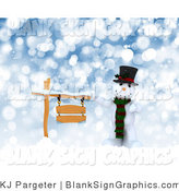 Illustration of a 3d Snowman with a Blank Wooden Sign in the Snow by KJ Pargeter