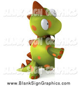 Illustration of a 3d Spotted Dinosaur Looking Around a Blank Sign by Julos