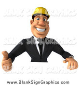 Illustration of a 3d Strong Builder Man Holding a Thumb up over a Sign by Julos