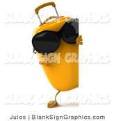 Illustration of a 3d Suitcase Wearing Sunglasses and Holding a Blank Sign by Julos