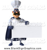 Illustration of a 3d Super Hero Chef Holding a Blank Sign by Julos