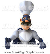 Illustration of a 3d Super Hero Chef Holding a Thumb up over a Blank Sign by Julos
