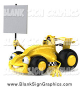 Illustration of a 3d Taxi Race Car Facing Lef and Holding a Blank Sign by Julos