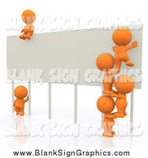 Illustration of a 3d Team of Orange Working on a Billboard Sign by