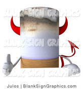 Illustration of a 3d Thumb up Devil Tobacco Cigarette Holding a Blank Sign by Julos