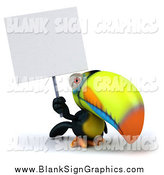 Illustration of a 3d Toucan Bird Holding up a Blank Sign by Julos
