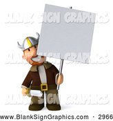 Illustration of a 3d Viking Holding a Blank Sign on a Post by Julos