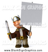 Illustration of a 3d Viking Man Smiling up at a Blank Sign Board by Julos