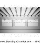 Illustration of a 3d Wall of Blank Sign Advertisements by Mopic