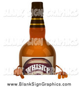 Illustration of a 3d Whiskey Bottle Character Pointing down at a Blank Sign by Julos