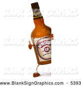 Illustration of a 3d Whisky Bottle Mascot Giving a Thumbs up Around a Blank Sign by Julos