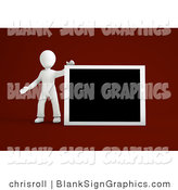 Illustration of a 3d White Guy Holding up a Blank Board by Chrisroll