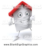 Illustration of a 3d White Home Holding a Thumb up Around a Sign by Julos